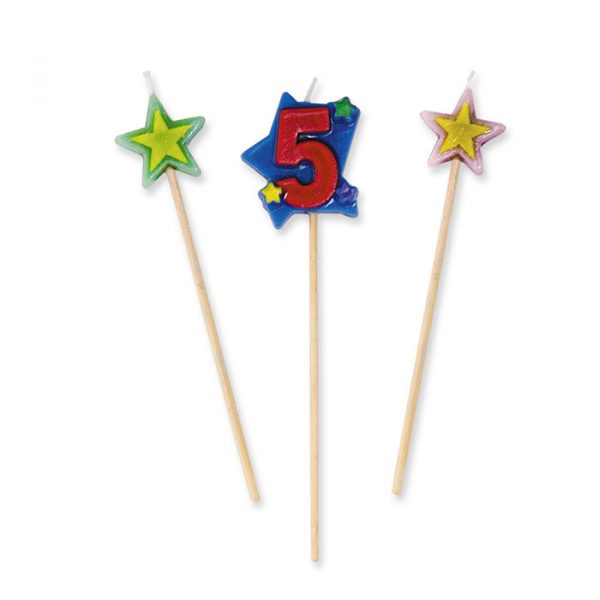 3 Candeline Picks 16 cm Numero 5