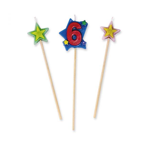 3 Candeline Picks 16 cm Numero 6