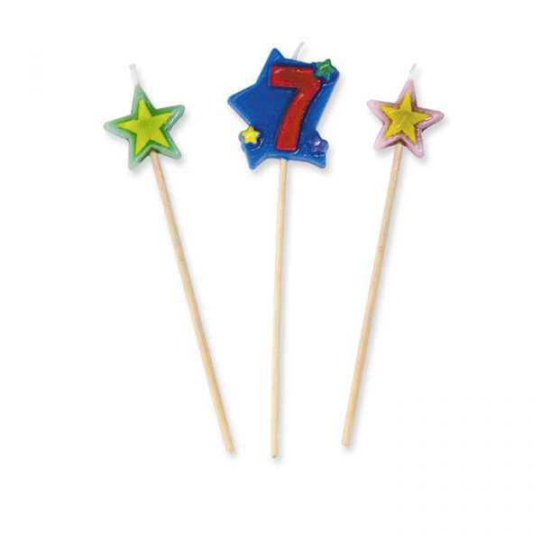 3 Candeline Picks 16 cm Numero 7