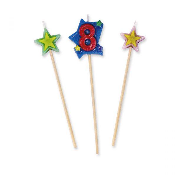 3 Candeline Picks 16 cm Numero 8