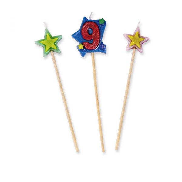 3 Candeline Picks 16 cm Numero 9