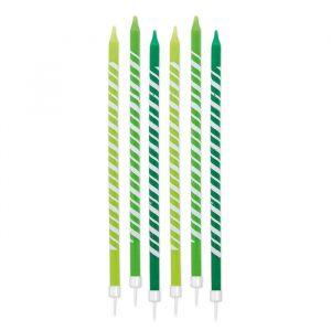 6 Candeline Matite 10 cm Stripes Verde Mela