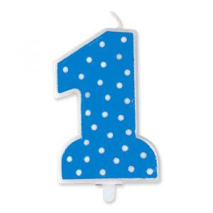 Candelina Pois Celeste 11 cm Numero 1