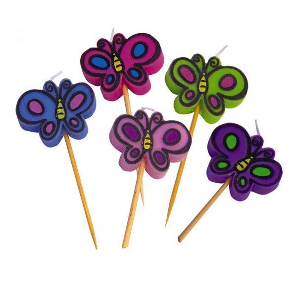 5 Candeline Picks 7 cm Butterfly