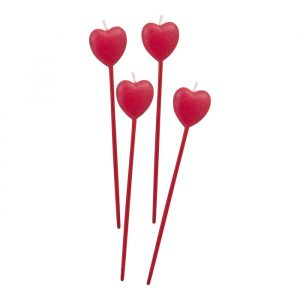 4 Candeline Picks 13 cm Cuore Red