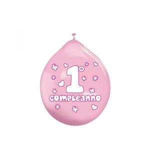 """20 Palloncini in Lattice 10"""" Primo Compleanno Rosa"""