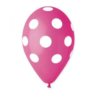 "100 Palloncini in Lattice All Around 12"" Pois Fuxia"