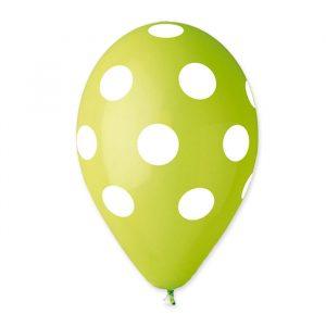"100 Palloncini in Lattice All Around 12"" Pois Verde Mela"