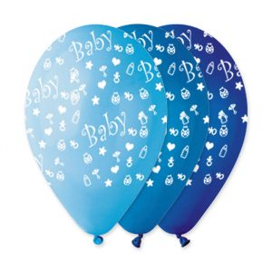 "100 Palloncini in Lattice All Around 12"" Baby Boy Celeste Assortito"