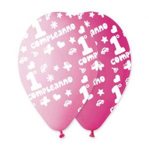 """100 Palloncini in Lattice All Around 12"""" Primo Compleanno Rosa Assortito"""