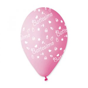 "100 Palloncini in Lattice All Around 12"" Battesimo Rosa"
