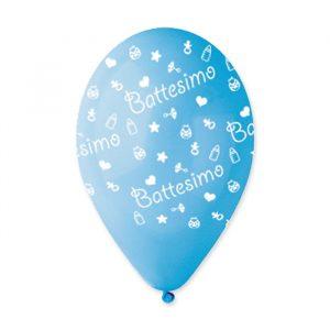 "100 Palloncini in Lattice All Around 12"" Battesimo Celeste"