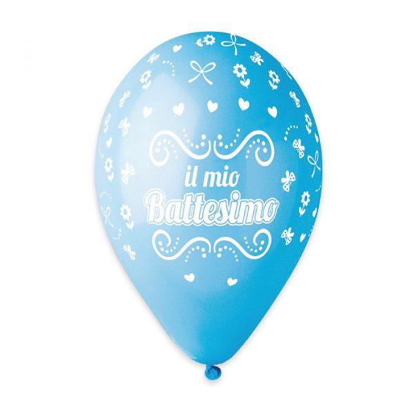 "50 Palloncini in Lattice All Around 12"" Battesimo Celeste"