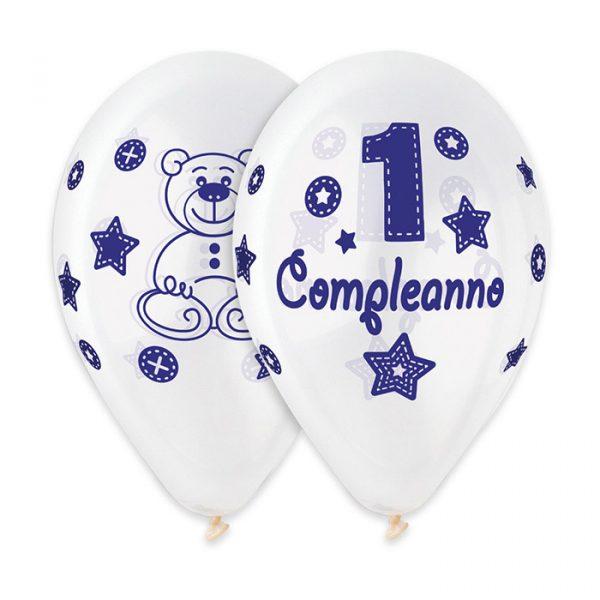 """50 Palloncini in Lattice All Around 12"""" Primo Compleanno Celeste Crystal"""