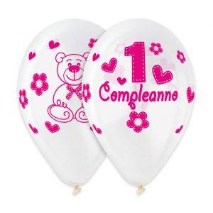 """50 Palloncini in Lattice All Around 12"""" Primo Compleanno Rosa Crystal"""
