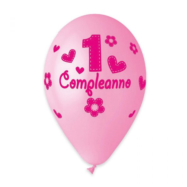 "50 Palloncini in Lattice All Around 12"" Primo Compleanno Rosa"