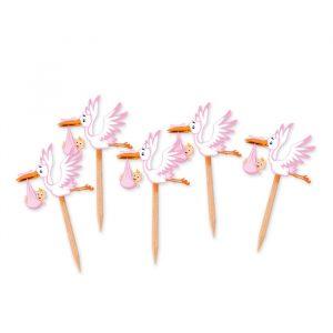 25 Picks Sagomati 4 x 7 cm Cicogna Nuvola Rosa
