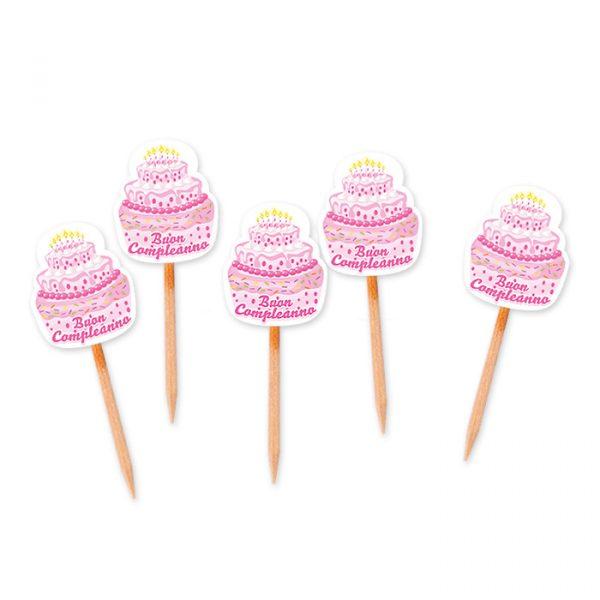 25 Picks Sagomati 3 x 7 cm Buon Compleanno Cake Rosa