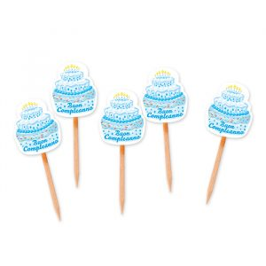 25 Picks Sagomati 3 x 7 cm Buon Compleanno Cake Celeste