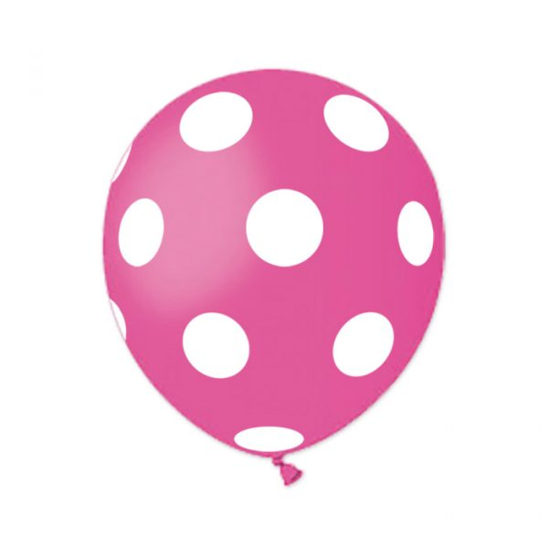 "100 Palloncini in Lattice All Around 5"" Pois Fuxia"
