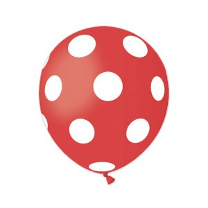 "100 Palloncini in Lattice All Around 5"" Pois Rosso"