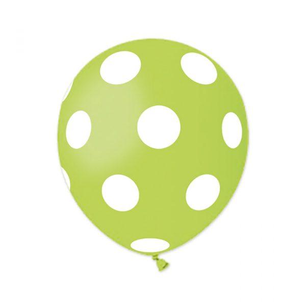 "100 Palloncini in Lattice All Around 5"" Pois Verde Mela"