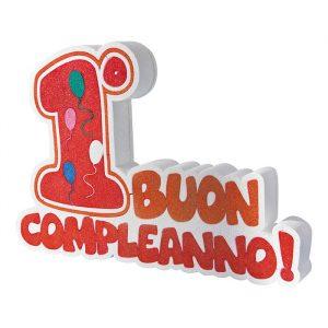 Scritta in Polistirolo 42 x 29 x 5 cm Buon 1°Compleanno