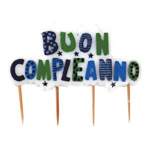 Candelina Picks 10 x 7 cm Buon Compleanno Multi Celeste