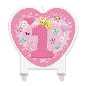 Candelina Maxi Sagomata 11 x 12 cm Primo Compleanno Rosa
