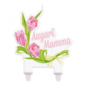 Candelina Maxi Sagomata 12 x 12 cm Auguri Mamma