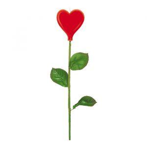 Candelina Rosa Stelo Lungo 33 cm Cuore Rosso
