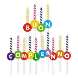 Porta Candeline in plastica 7 cm Scritta Buon Compleanno + Candeline Assortite