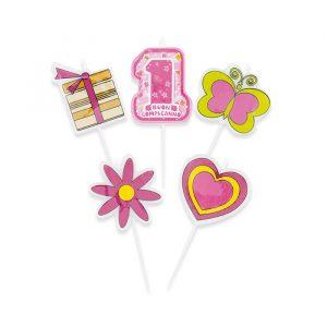 5 Candeline Picks 8 cm One Pink