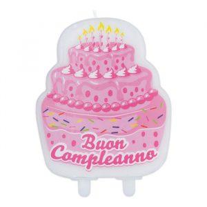 Candelina Maxi Sagomata 9 x 12 cm Buon Compleanno Cake Rosa