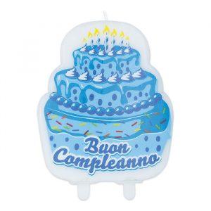 Candelina Maxi Sagomata 9 x 12 cm Buon Compleanno Cake Celeste