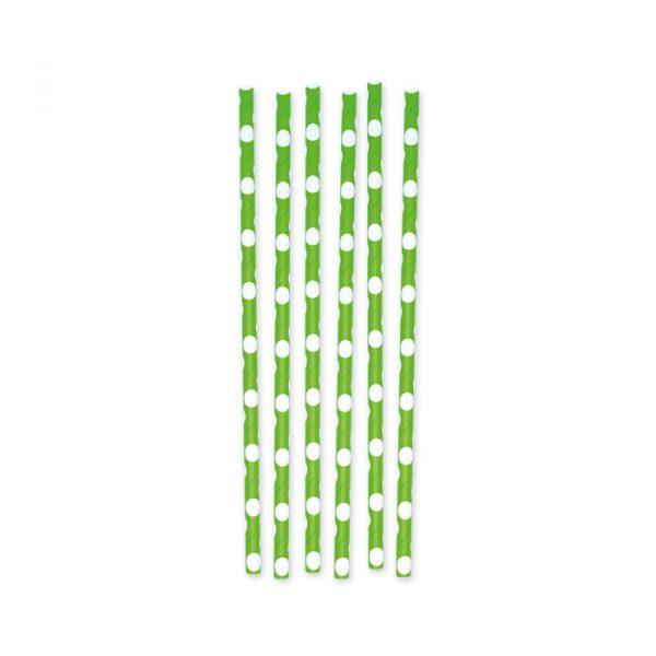 6 Cannucce in carta h 26 cm x Ø 1 cm Pois Verde Mela