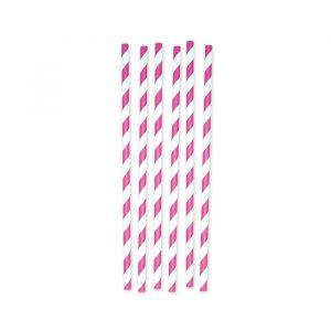 6 Cannucce in carta h 26 cm x Ø 1 cm Stripes Fuxia