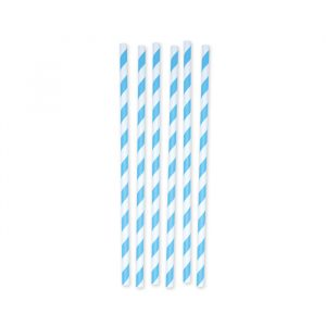 6 Cannucce in carta h 26 cm x Ø 1 cm Stripes Turchese