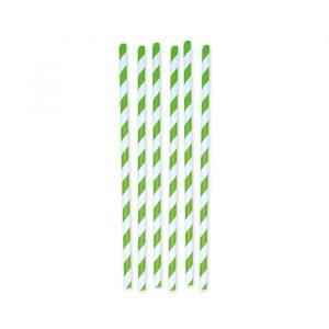 6 Cannucce in carta h 26 cm x Ø 1 cm Stripes Verde Mela