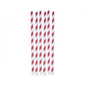 6 Cannucce in carta h 26 cm x Ø 1 cm Stripes Rosso