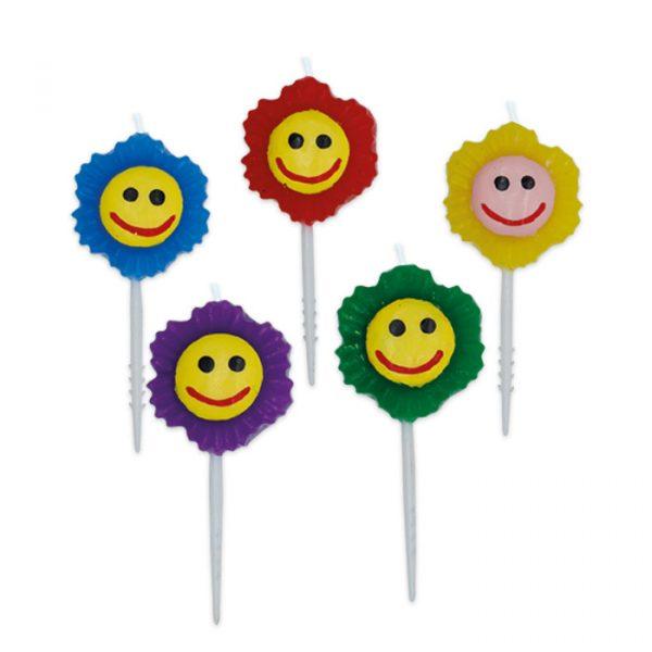5 Candeline Picks 5 cm Fiori Smile