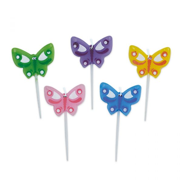 5 Candeline Picks 5 cm Farfalle