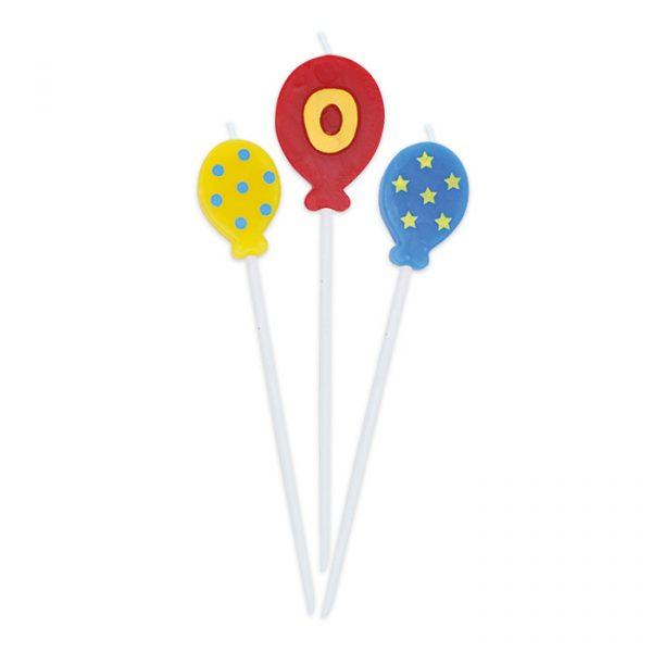 3 Candeline Picks 16 cm Balloons Numero 0