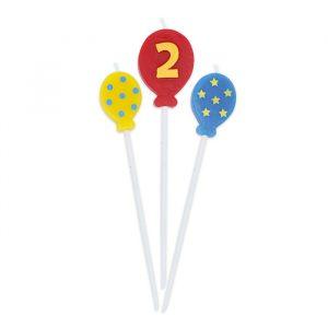 3 Candeline Picks 16 cm Balloons Numero 2