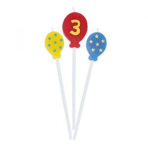 3 Candeline Picks 16 cm Balloons Numero 3