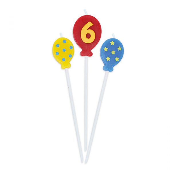 3 Candeline Picks 16 cm Balloons Numero 6