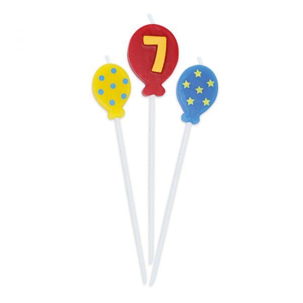 3 Candeline Picks 16 cm Balloons Numero 7