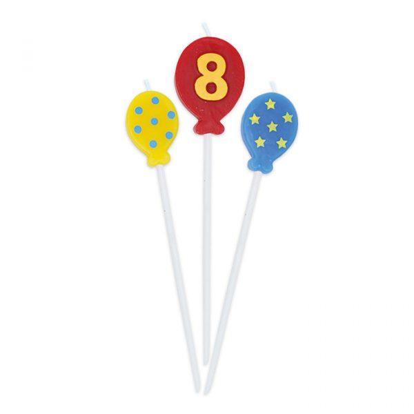 3 Candeline Picks 16 cm Balloons Numero 8