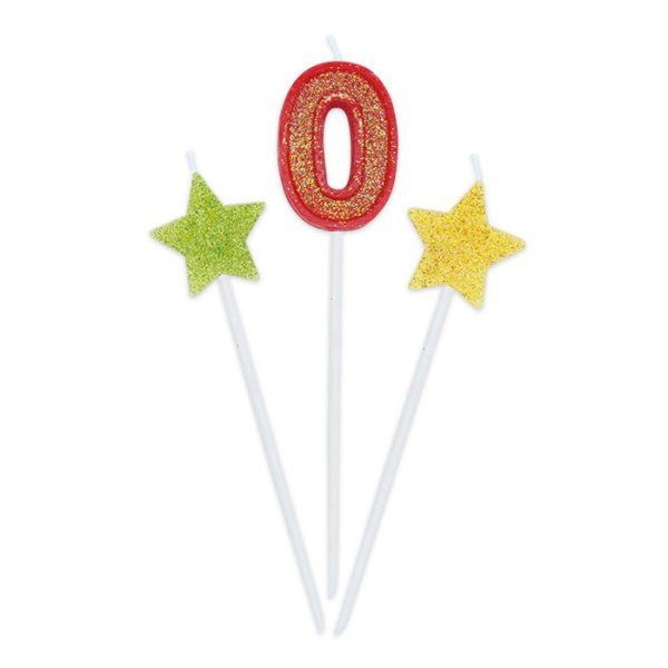 3 Candeline Picks 16 cm Sweety Stars Glitter Numero 0