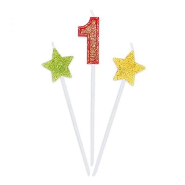 3 Candeline Picks 16 cm Sweety Stars Glitter Numero 1
